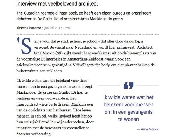 Volkskrant artikel – Arna Mackic: architectuur van de verbinding